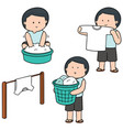 set of people washing clothes vector image