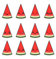 set sweet watermelons with different emotions vector image vector image