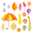 set watercolor autumn design elements vector image vector image