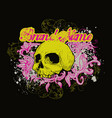 skull on floral background vector image vector image