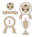 soccer icons - ball ribbon award cup vector image