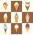 soft serve ice cream cone with topping and waffle vector image