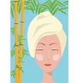 spa woman towel care skin bamboo blue background vector image