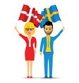 sweden and norway flag waving couple vector image vector image