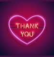 thank you in the heart neon sign vector image vector image