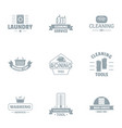 washable logo set simple style vector image