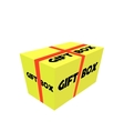 Yellow Realistic Package Cardboard Box with ribbon vector image