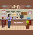 hotel girl receptionist answers questions traveler vector image