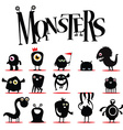 A lot of black monsters vector image vector image