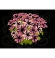 Abstract pink asters with dark background vector image vector image