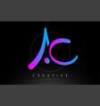 ac artistic brush letter logo handwritten vector image vector image