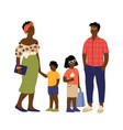 afro american family cute kids parents casual vector image vector image