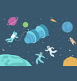 astronauts in outer space flat poster vector image