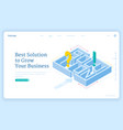 best solutions for business grow isometric landing vector image vector image