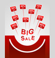 big sale red plates indicating percent discount vector image vector image
