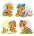 brown teddy bear farmer vector image