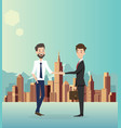 Businessman handshake with city background