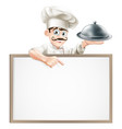 chef pointing at sign vector image vector image
