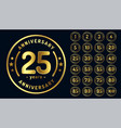 circular anniversary emblems or labels in golden vector image vector image
