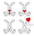 contour valentine bunnies vector image vector image