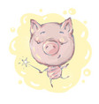 cute little pig character with magic wand jumping vector image vector image