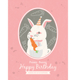 Cute rabbit Animal Cartoon Birthday card design vector image vector image