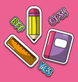 cute school book ruler pencil bff yes ops image vector image vector image