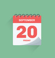 day calendar with date september 20 vector image vector image