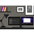 dual two monitor programming coding web vector image