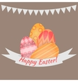 Easter holiday card with colorful eggs flat vector image