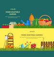 farm with vegetables and garden items vector image vector image