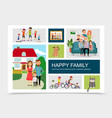 flat happy family concept vector image