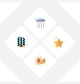flat icon nature set of sea star seashell medusa vector image vector image