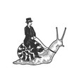 gentleman riding snail sketch vector image vector image