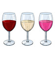 glass of wine red white and rose wine hand vector image