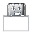 grinning with board h button installed in cartoon vector image vector image