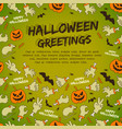 halloween greetings on green background vector image