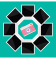 Instant photo circle with camera camera in flat vector image