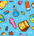 kawaii school seamless pattern with cute education vector image vector image