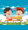 kids sitting on park bench vector image vector image