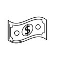 line dollar bill cash money icon vector image vector image