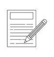 line paper document with pencil tool design vector image vector image