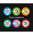 logos with funny monsters vector image vector image
