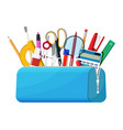 open pencil case with zipper full stationery vector image vector image