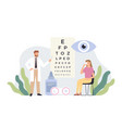 ophthalmologist checking vision eye healthcare vector image