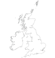 outline map united kingdom and ireland vector image
