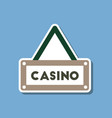 paper sticker on stylish background casino sign vector image vector image