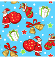 pattern with Santa Claus and gifts vector image