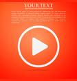 play icon on orange background flat design vector image vector image