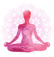 practicing yoga meditation watercolor vector image vector image